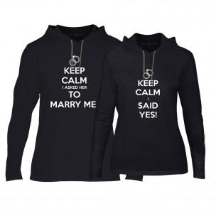 Hanorace pentru cupluri Keep Calm negru