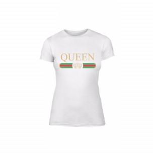 Tricou de dama Fashion King Queen alb, mărimea L