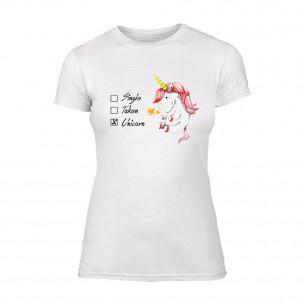 Tricou de dama Unicorn alb