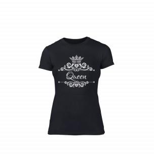 Tricou de dama Romantic King Queen negru, mărimea XL