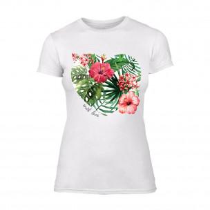 Tricou de dama Exotic Flowers alb