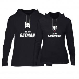 Hanorace pentru cupluri Batman & Catwoman negru