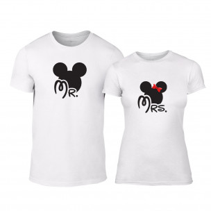 Tricouri pentru cupluri Mr. Mickey Mrs. Minnie alb TEEMAN