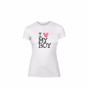 Tricou de dama Love My Boy alb, mărimea M