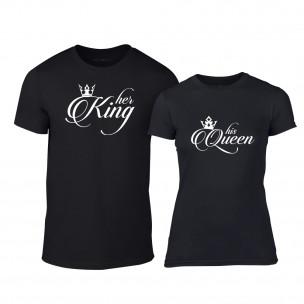 Tricouri pentru cupluri King & Queen negru TEEMAN