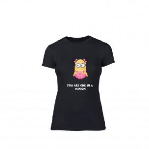 Tricou de dama One in a minion negru, mărimea L