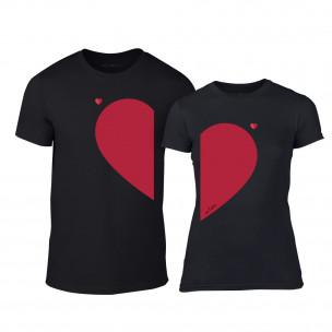 Tricouri pentru cupluri Half Heart negru TEEMAN