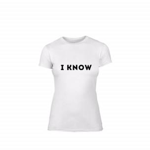 Tricou de dama I know alb, mărimea XL