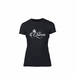 Tricou de dama His queen negru, mărimea XL