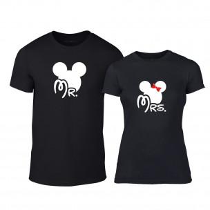 Tricouri pentru cupluri Mr. Mickey Mrs. Minnie negru TEEMAN