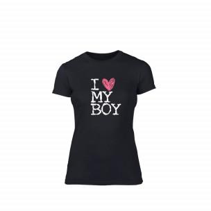 Tricou de dama Love My Boy negru S