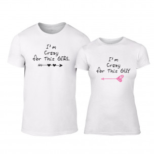 Tricouri pentru cupluri Crazy in love alb TEEMAN
