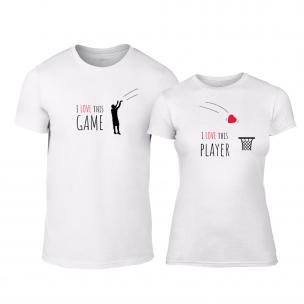 Tricouri pentru cupluri Basketball alb