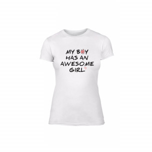 Tricou de dama The Awesome Boy & Girl alb, mărimea M