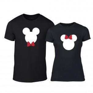 Tricouri pentru cupluri Mickey & Minnie negru