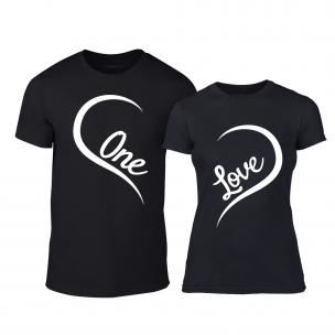 Tricouri pentru cupluri One Love negru