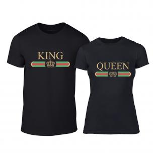 Tricouri pentru cupluri Fashion King Queen negru 2