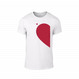 Tricou pentru barbati Half Heart alb, mărimea S