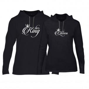 Hanorace pentru cupluri King & Queen negru