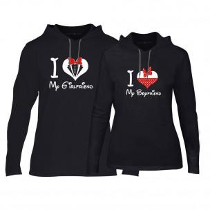 Hanorace pentru cupluri Mickey & Minnie Love negru