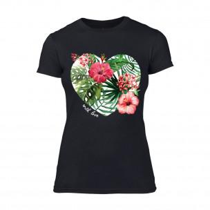 Tricou de dama Exotic Flowers negru