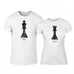 Tricouri pentru cupluri Chess alb
