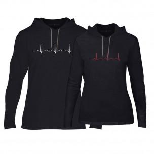 Hanorace pentru cupluri Heartbeats negru