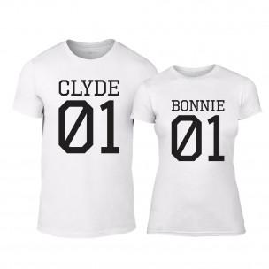 Tricouri pentru cupluri Bonnie 01 & Clyde 01 alb