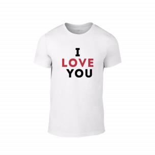 Tricou pentru barbati I love you alb, mărimea M