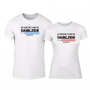 Tricouri pentru cupluri Join the Darkside with me alb TEEMAN