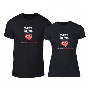 Tricouri pentru cupluri Crazy In Love negru