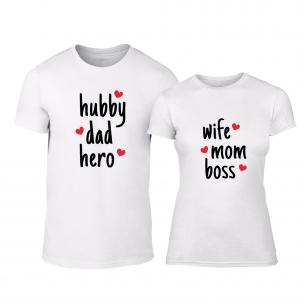 Tricouri pentru cupluri Hero & Boss alb