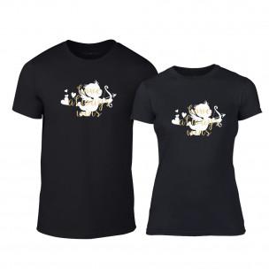 Tricouri pentru cupluri Love Always Wins negru TEEMAN