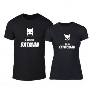 Tricouri pentru cupluri I'm Her Batman I'm His Catwoman negru