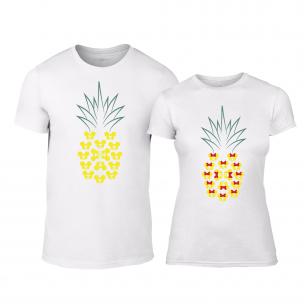 Tricouri pentru cupluri Pineapple alb
