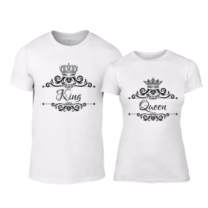 Tricouri pentru cupluri Romantic King Queen alb