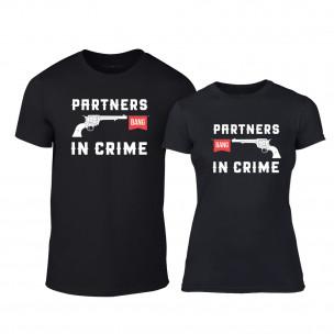 Tricouri pentru cupluri Partners in Crime negru TEEMAN
