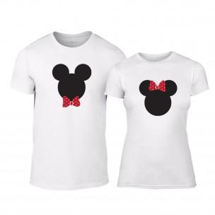 Tricouri pentru cupluri Mickey & Minnie alb