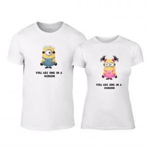 Tricouri pentru cupluri One in a Minion alb