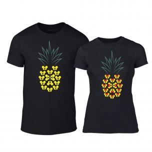 Tricouri pentru cupluri Pineapple negru