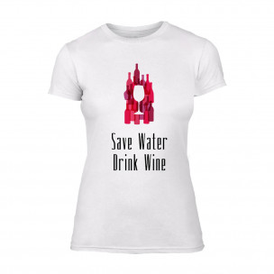 Tricou de dama Save Water Drink Wine alb