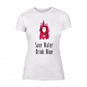 Tricou de dama Save Water Drink Wine alb TEEMAN