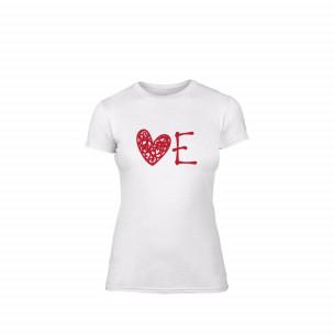 Tricou de dama Love alb, mărimea S