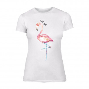 Tricou de dama Flamingo alb