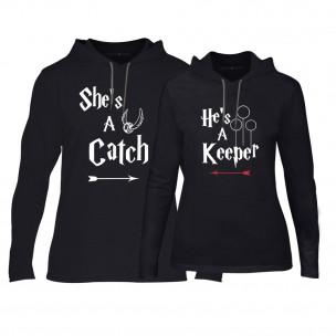 Hanorace pentru cupluri Catch/Keeper negru