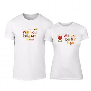 Tricouri pentru cupluri Bee & Honey alb