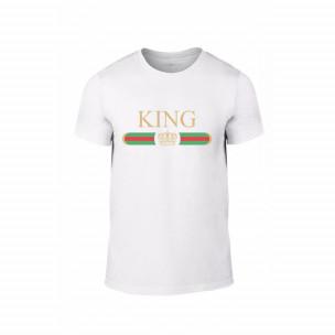 Tricou pentru barbati Fashion King Queen alb, mărimea L