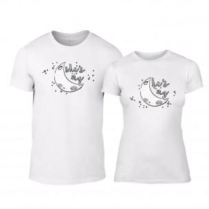 Tricouri pentru cupluri The Moon Couple alb TEEMAN