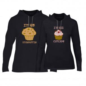 Hanorace pentru cupluri Muffin Cupcake negru