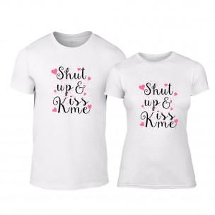 Tricouri pentru cupluri Shut up & Kiss me alb TEEMAN